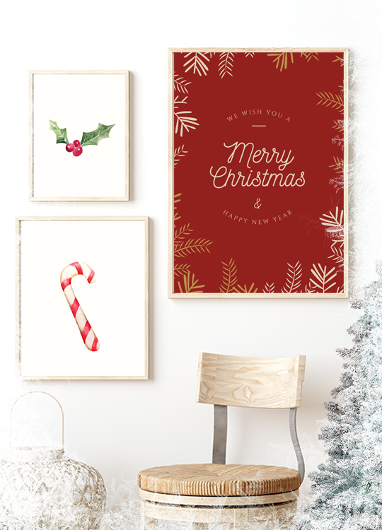 Merry Christmas Red Print - Nordvian Modern Nordic Decor ( - )