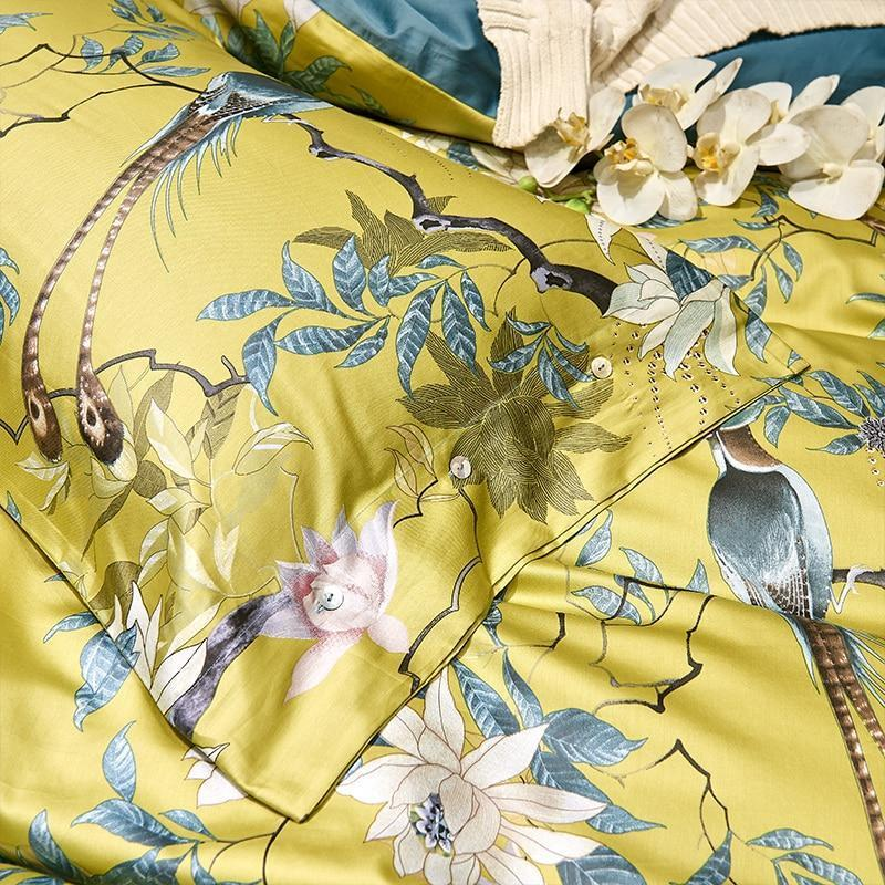 Solarosa Yellow Silky Egyptian cotton style Duvet Cover Set - Nordvian Modern Nordic Decor ( - Bedding, Birds, cotton, Egyptian, Set, Silky, Solarosa, style, us, Yellow)