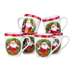 SANTACLAUS 6-Piece Christmas Pattern Porcelain Tea/Coffee Mug Cup Set - Nordvian Modern Nordic Decor ( - Christmas, Coffee, Cup, Family, Festival, Milk, Mug, Office, Party, Pattern, Piece, Po