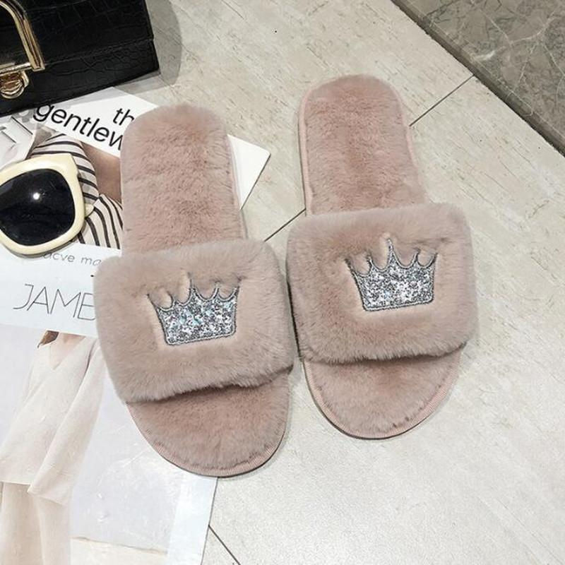 Crown Faux Fur Plush Indoor Slippers - Nordvian Modern Nordic Decor (Slippers - )