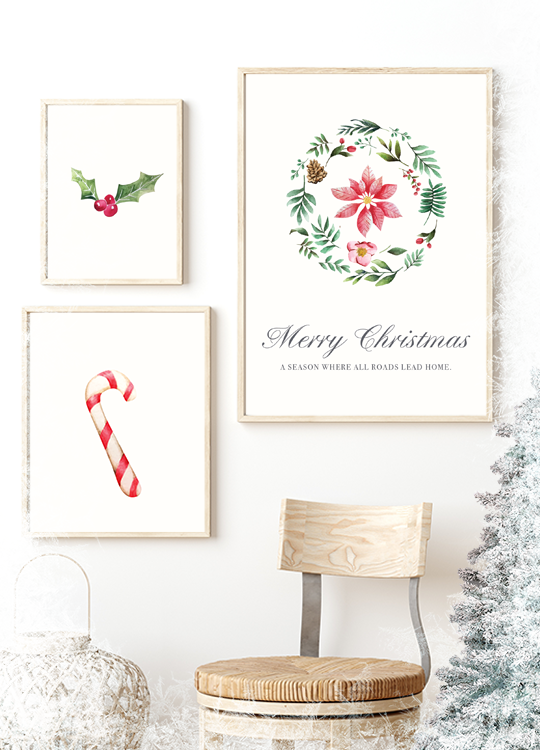 Watercolor Christmas Print No. 1 - Nordvian Modern Nordic Decor ( - )