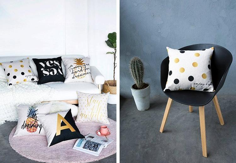 Black & Gold Cushions - Nordvian Modern Nordic Decor (cushion - )