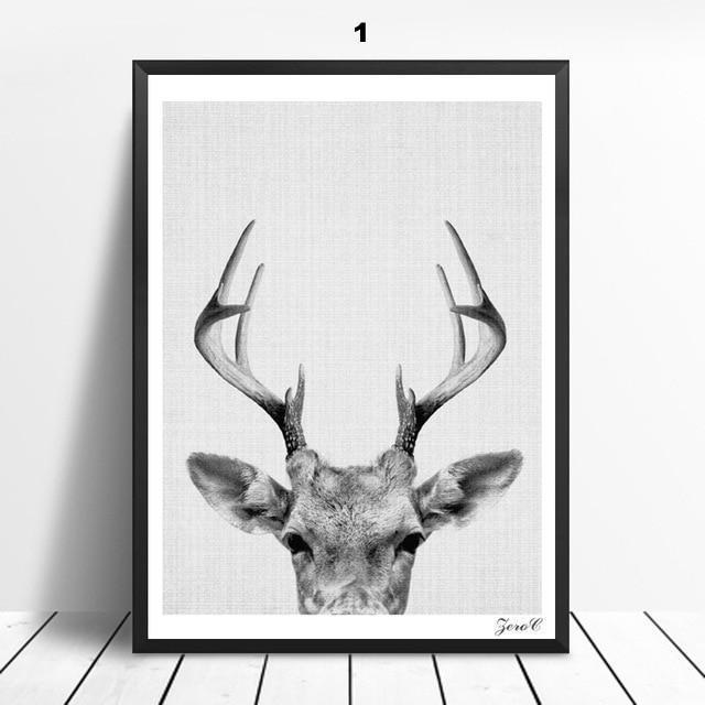 Mono Safari Animals - Nordvian Modern Nordic Decor (wall art - )