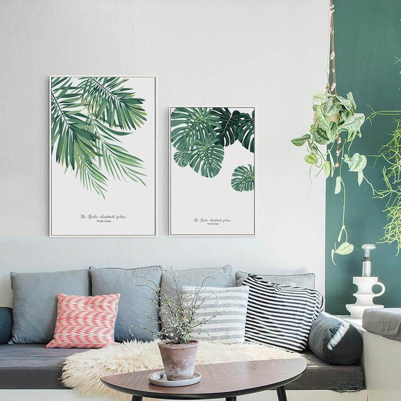 Pale Green Large Leaf Plant Wall Art - Nordvian Modern Nordic Decor (wall art - )