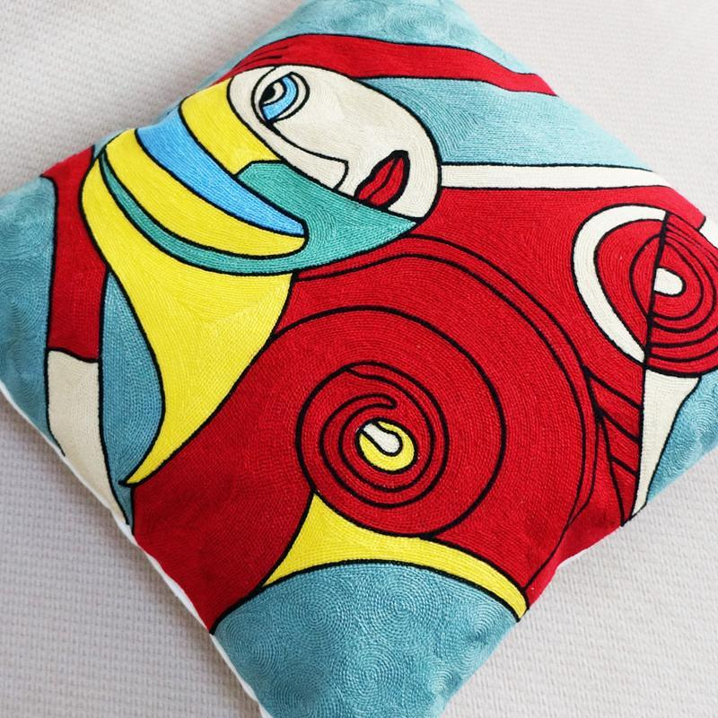 Abstract Embroidered Cushion - Nordvian Modern Nordic Decor (cushion - )