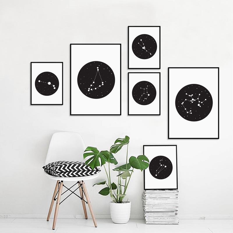 Constellation In Black Circle - Nordvian Modern Nordic Decor (wall art - )