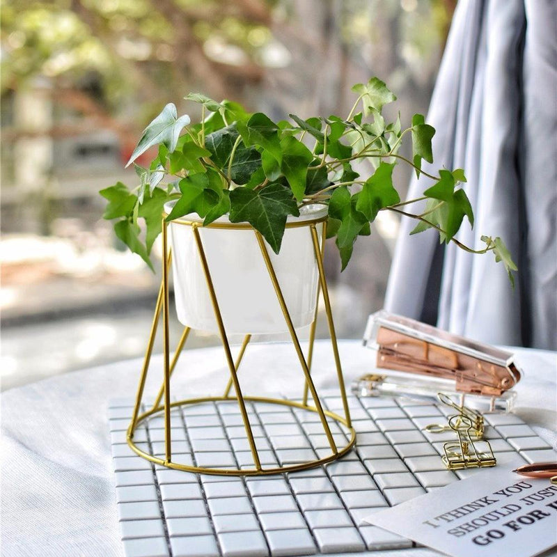 Golden Iron Rack Vase - Nordvian Modern Nordic Decor (vase - )