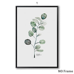 Watercolor Blooming Green Wall Art - Nordvian Modern Nordic Decor (wall art - )