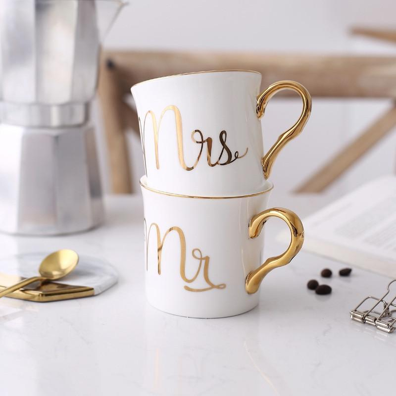 Bone China Mrs&Mr Mugs - Nordvian Modern Nordic Decor (cup - )