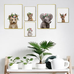 Baby Animals With Floral Hat - Nordvian Modern Nordic Decor (wall art - )
