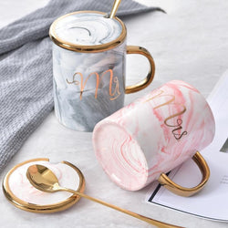 Mr & Mrs Marble Mug with Lid - Nordvian Modern Nordic Decor (mug - )