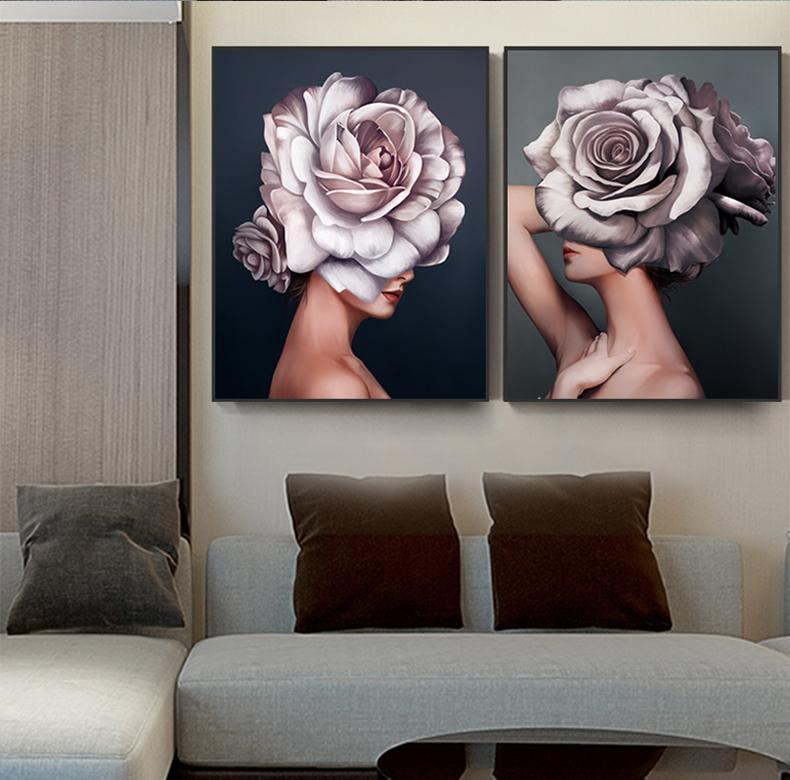 Women with Flowers - Nordvian Modern Nordic Decor (wall decor - )