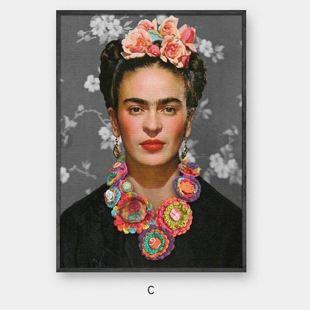 Frida with Flowers - Nordvian Modern Nordic Decor (wall art - )