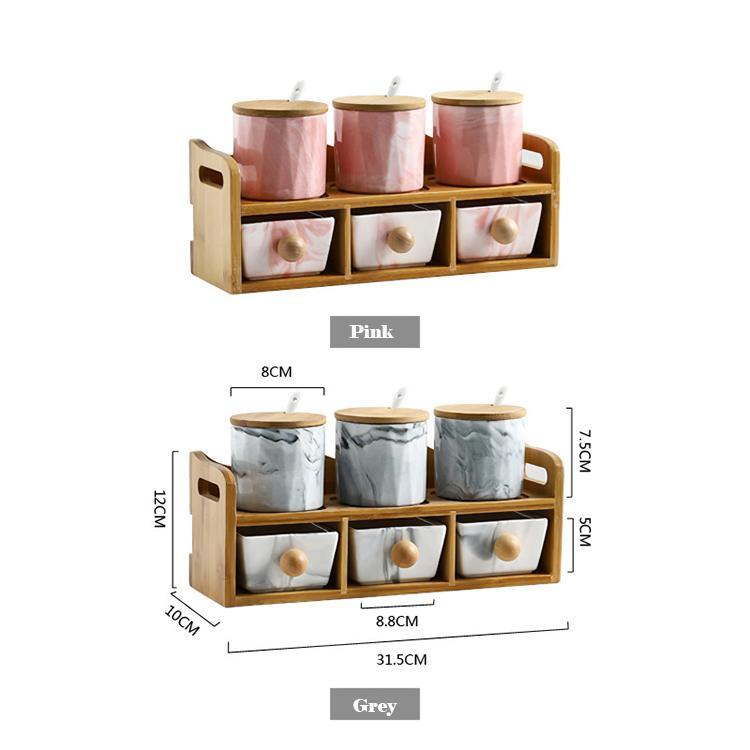 Marble Ceramic Spice Jar with Drawer - Nordvian Modern Nordic Decor (organiser - )