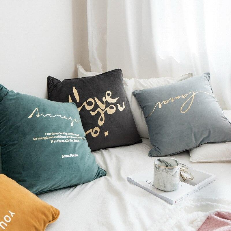 Velvet Cushions with Gold Letters - Nordvian Modern Nordic Decor (cushion - )