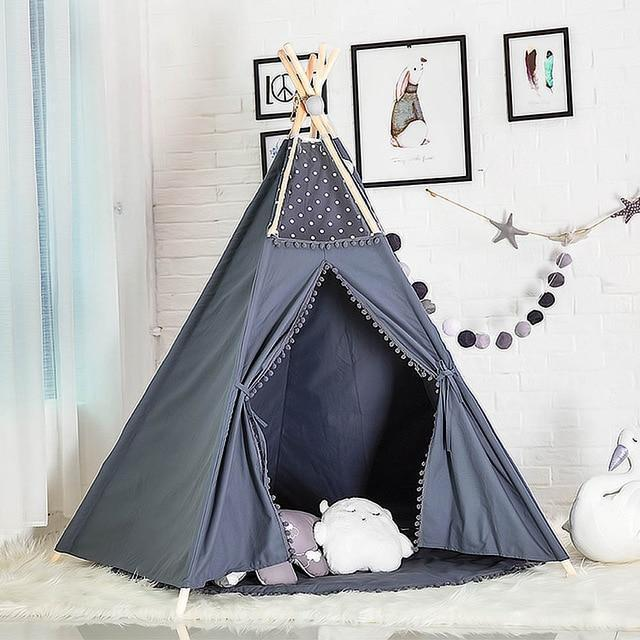 Kids Cotton Teepee Tent - Nordvian Modern Nordic Decor (Toy Tents - Bedroom, Decor, Kids, not-hanger)