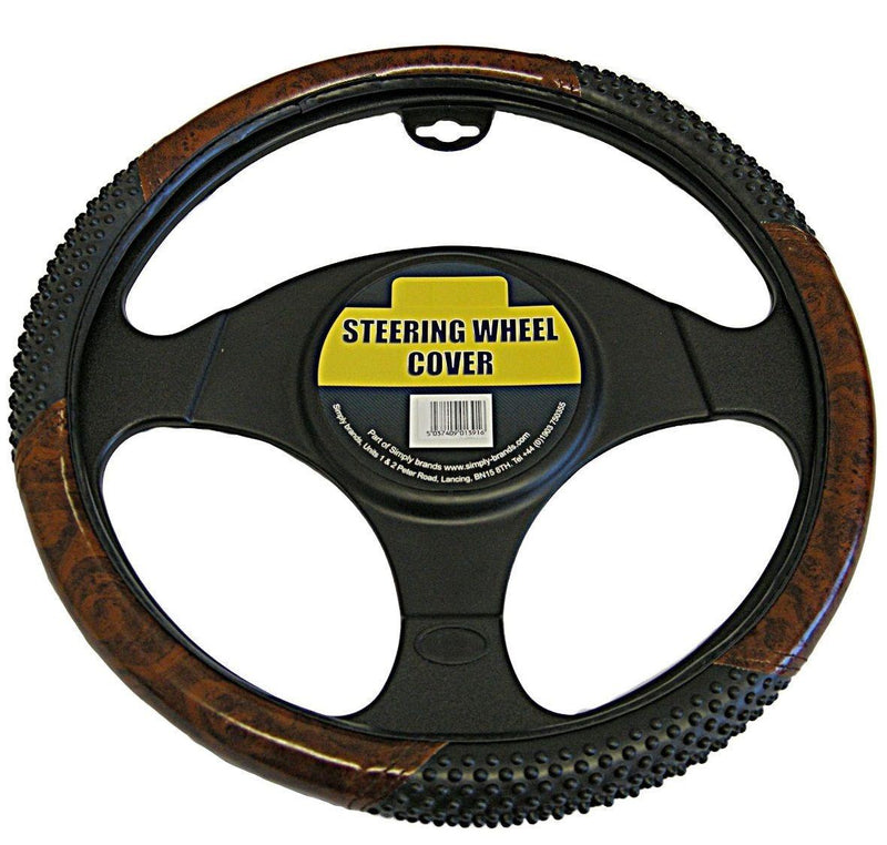 Hand Massage Steering Wheel Cover Black & Wood