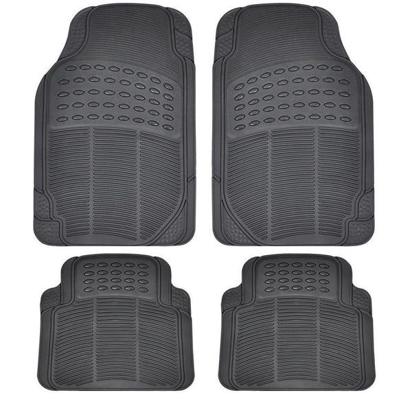 4 Piece Black Car Mat Set Rubber