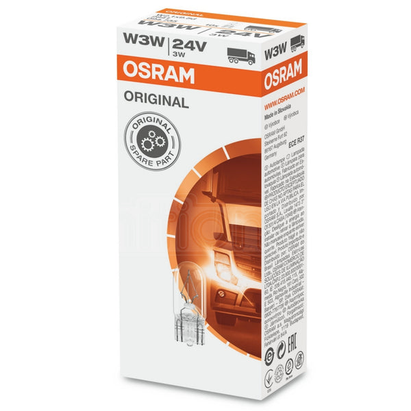 Osram Original 505 W3W 24V Side & Tail Light Bulbs - 10 Pack