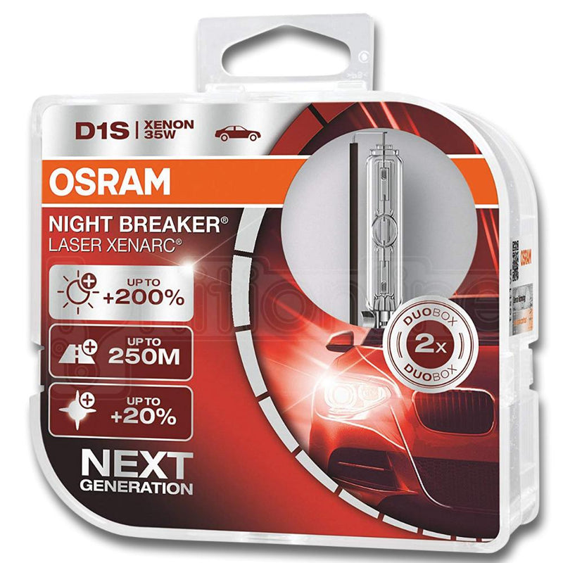 OSRAM D1S Night Breaker Laser 35W 85V Xenarc Next Generation Headlight Bulbs - Twin Pack