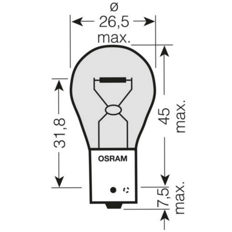 OSRAM 581 PY21W 12V 21W ULTRA LIFE Bayonet Bulbs BAU15s (Pack Of 10)