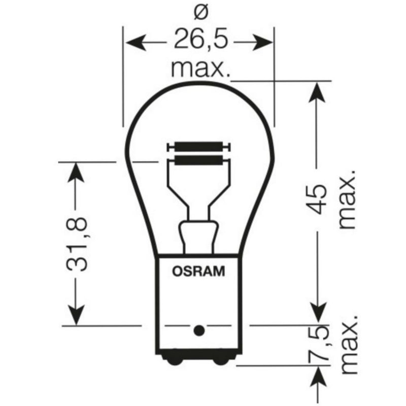 OSRAM 380 Ultra Life P21/5W Brake & Tail Light Bulbs (Twin Pack)