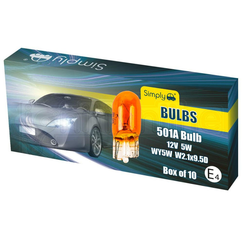 501 Amber Replacement 12V W5W Side / Tail Light Wedge Bulbs (Pack of 10)