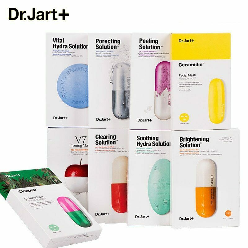 Korea Mask 1pcs Dr.Jart+ Mask Sheet Hydrating Whitening Skin Care JM Solution Face Mask Acne Treatment Sebum Control Facial Care