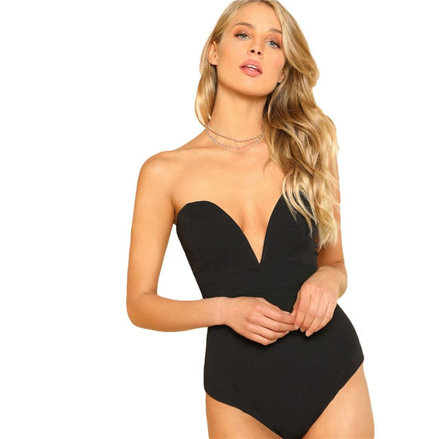 SHEIN Sexy Sweetheart Bustier Bodysuit Sleeveless Backless Plain Rompers With Lining 2018 Summer Skinny Bodysuit