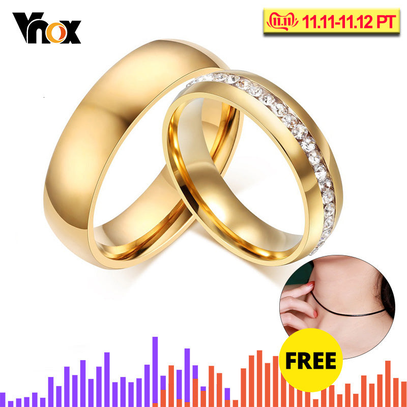 Vnox Gold-color Wedding Bands Ring for Women Men Jewelry 6mm Stainless Steel Engagement RingCouple Lover Anniversary Gift