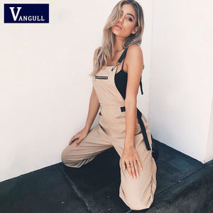 Vangull New Khaki Rompers Womens Jumpsuit Long Elegant Zipper Pockets Sleeveless Adjusted Strap High Waist Cotton Fashion Summer