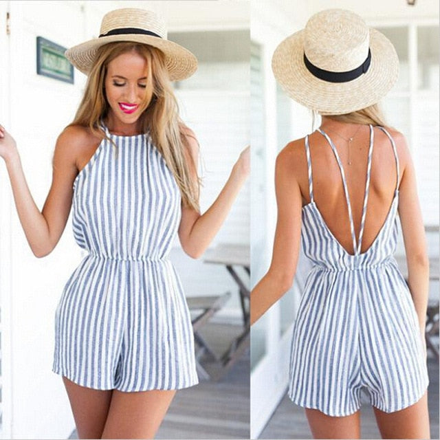Summer 2018 Women Strapless Playsuit Striped Rompers Ruffles Sleeve Jumpsuit Backless Sexy Overall Casual Beach Short Pants