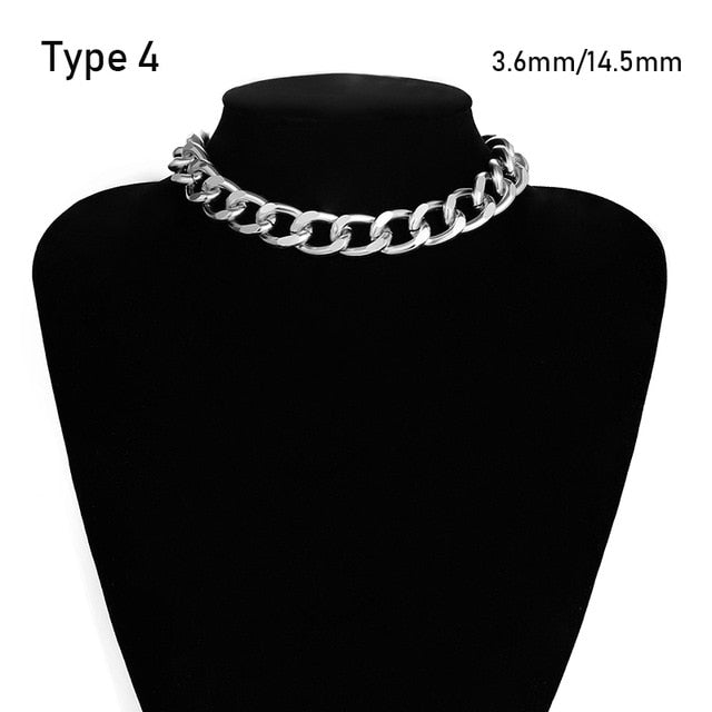 SHIXIN Punk Exaggerated Heavy Metal Big Thick Chain Choker Necklace Women Goth Fashion Night Club Jewelry Female Chocker Collier