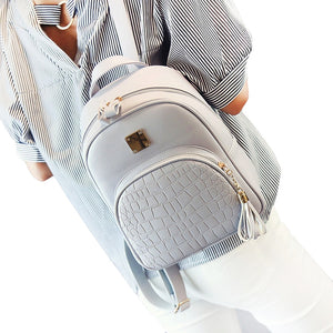 Women backpack leather school bags for teenager girls stone sequined female preppy style small backpack