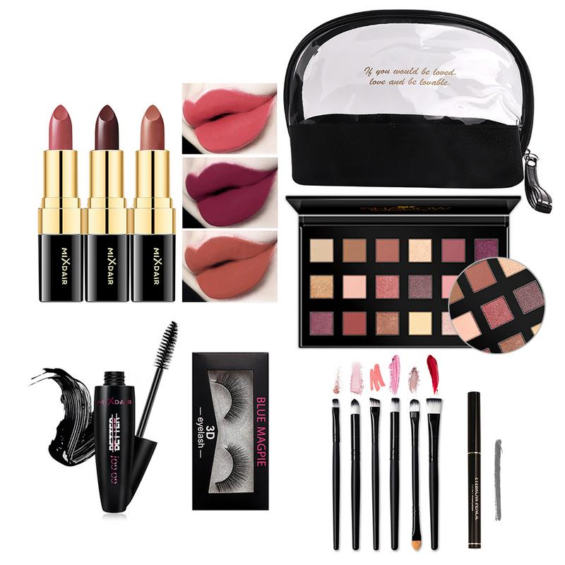 Full Beauty Makeup Set With Cosmetic Bag Lipstick Eye Shadow Mascara Makeup Brush 3D False Eyelashes Eyebrow Pencil Kits Gift