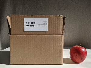 "A cardboard box with ""The Box Of Life"" written on it, beside an apple for scale"