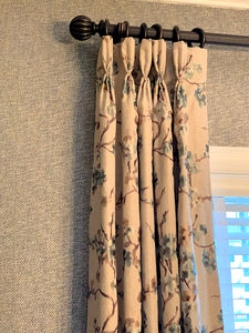embroidered fabric, custom draperies, custom panel, pinch pleat, wallpaper
