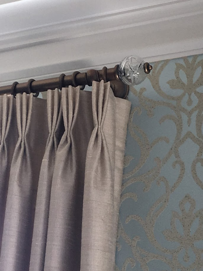 custom silk panels, pinch pleat, custom hardware, wallpaper,