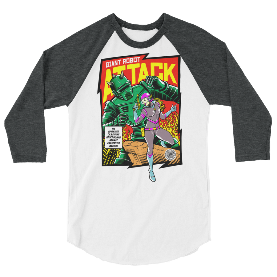 ROBOT ATTACK 3/4 sleeve raglan shirt - Shop Cool Tricks