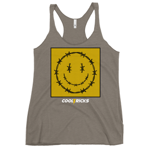 HAPPY BARBED WIRE Racerback Tank