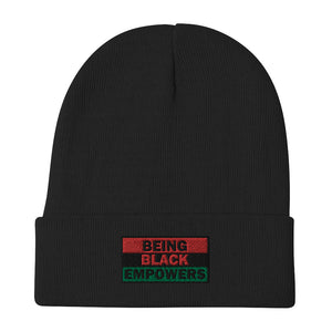 Being Black Empowers Embroidered Beanie