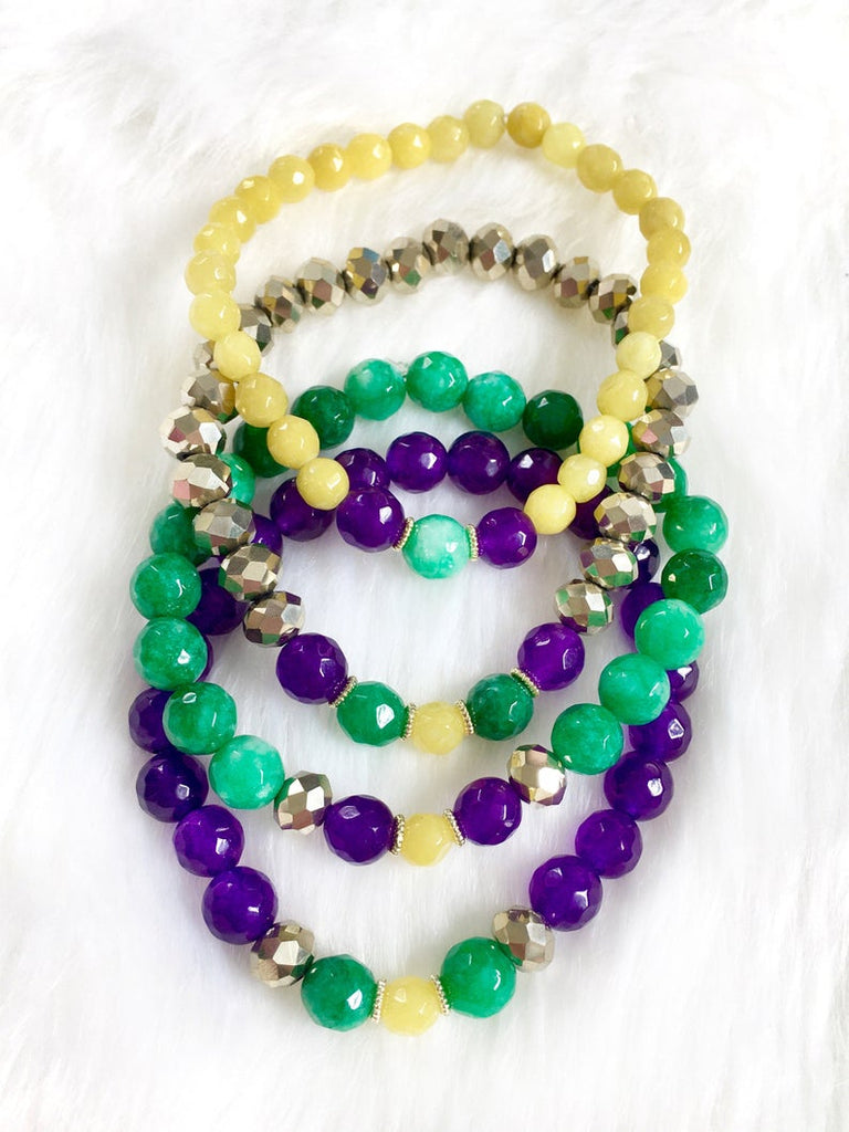 Beaded Mardi Gras Bracelet Stack