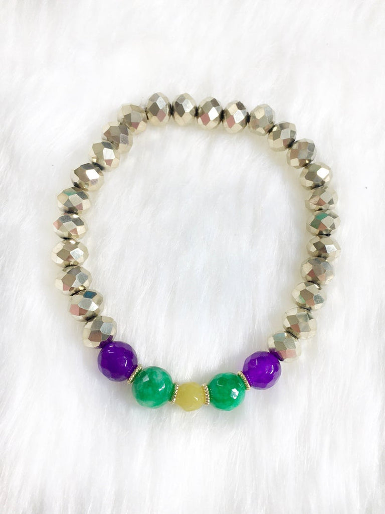 Gold Beaded Mardi Gras Bracelet