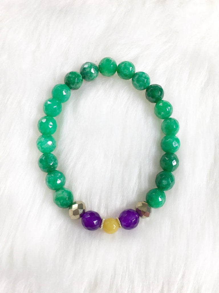 Green Beaded Mardi Gras Bracelet