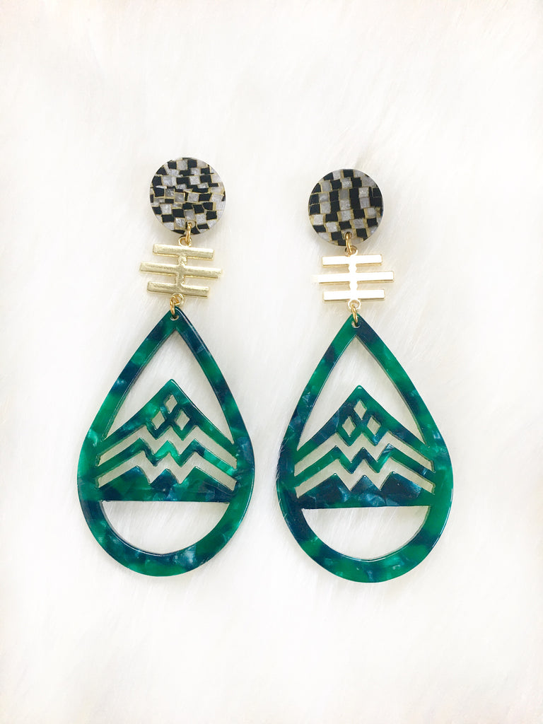 Green Mountain Resin Earrings