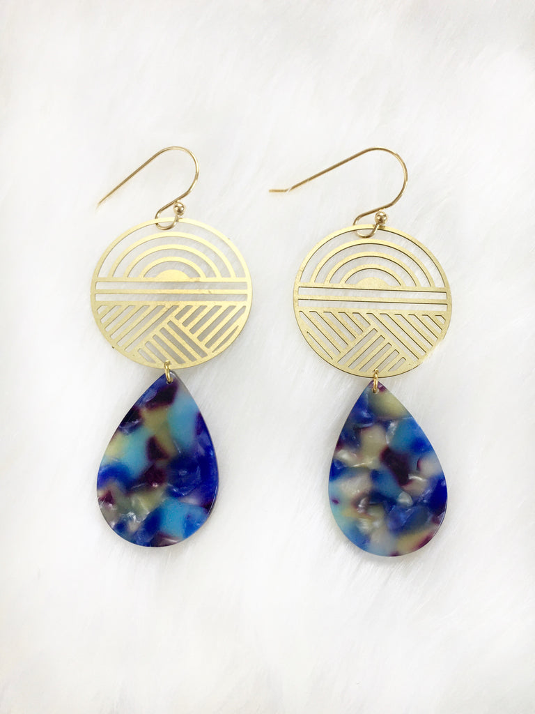 Gold Sunrise Disc with Resin Drop Earring