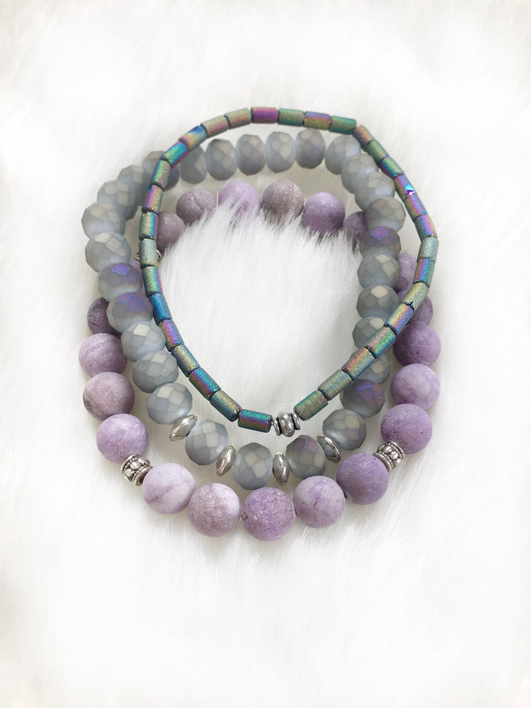 Purple Bracelet Stack