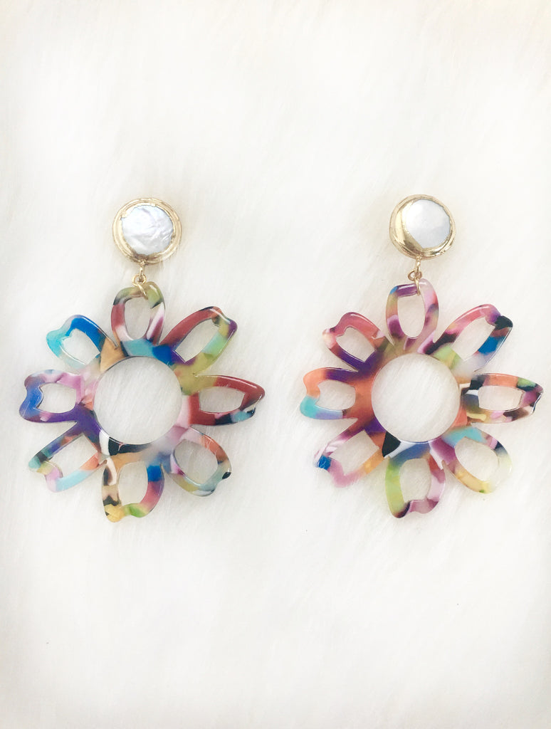 Pearl Stud with Bright Resin Flower Earring