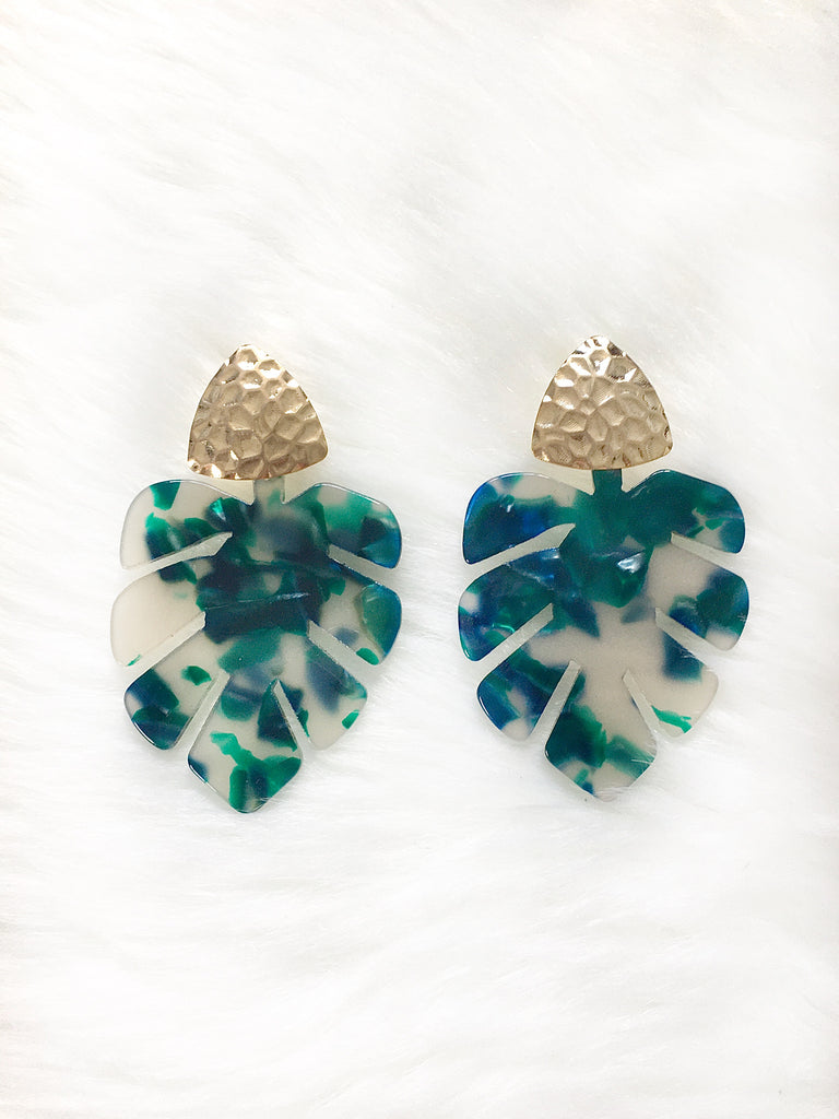 Green Monstera Leaf Earring