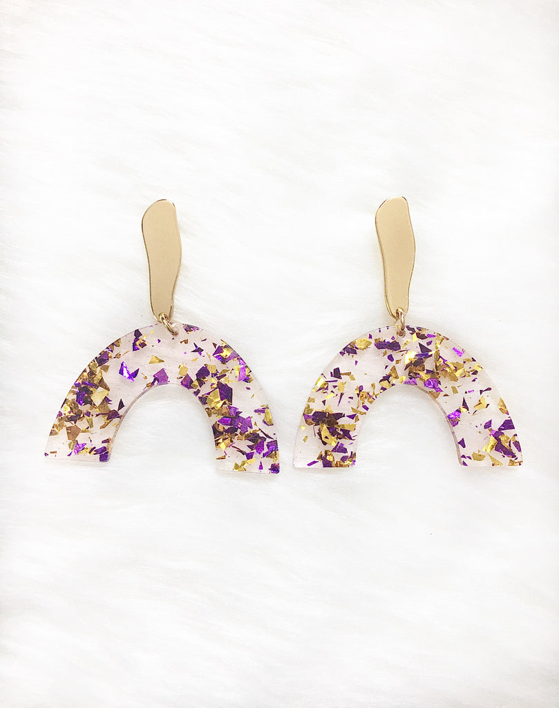 Purple & Gold Rainbow Glitter Earrings